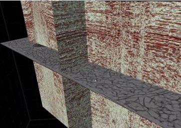 3D Seismic Reflection Data Cube Showing Fracture Attribute on Horizontal Plane