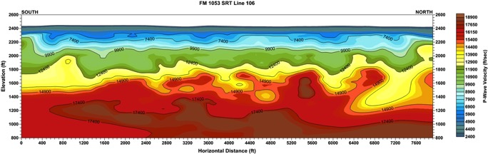 Seismic Refraction Tomography Profile Mapping - Karst Features at approximately 1,600 feet
