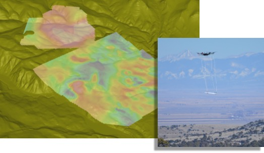 Contour Map of Total Magnetic Intensity (TMI) Superimposed on Digital Elevation Model Acquired with the Drone Enabled MagArrowTM (Left), Mineral Exploration Survey in Southern Colorado (Right).